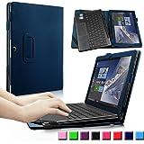 Lenovo Miix 310 Hülle Case, Infiland Slim Fit Folio PU-lederne dünne Kunstleder Schutzhülle Cover Tasche für Lenovo Miix 310 25,65 cm (10,1 Zoll HD) x5-Z8350 Tablet PC(mit Auto Schlaf / Wach Funktion, Tablet und Tastatur sind nicht entgehaltet)(Dunkleblau)
