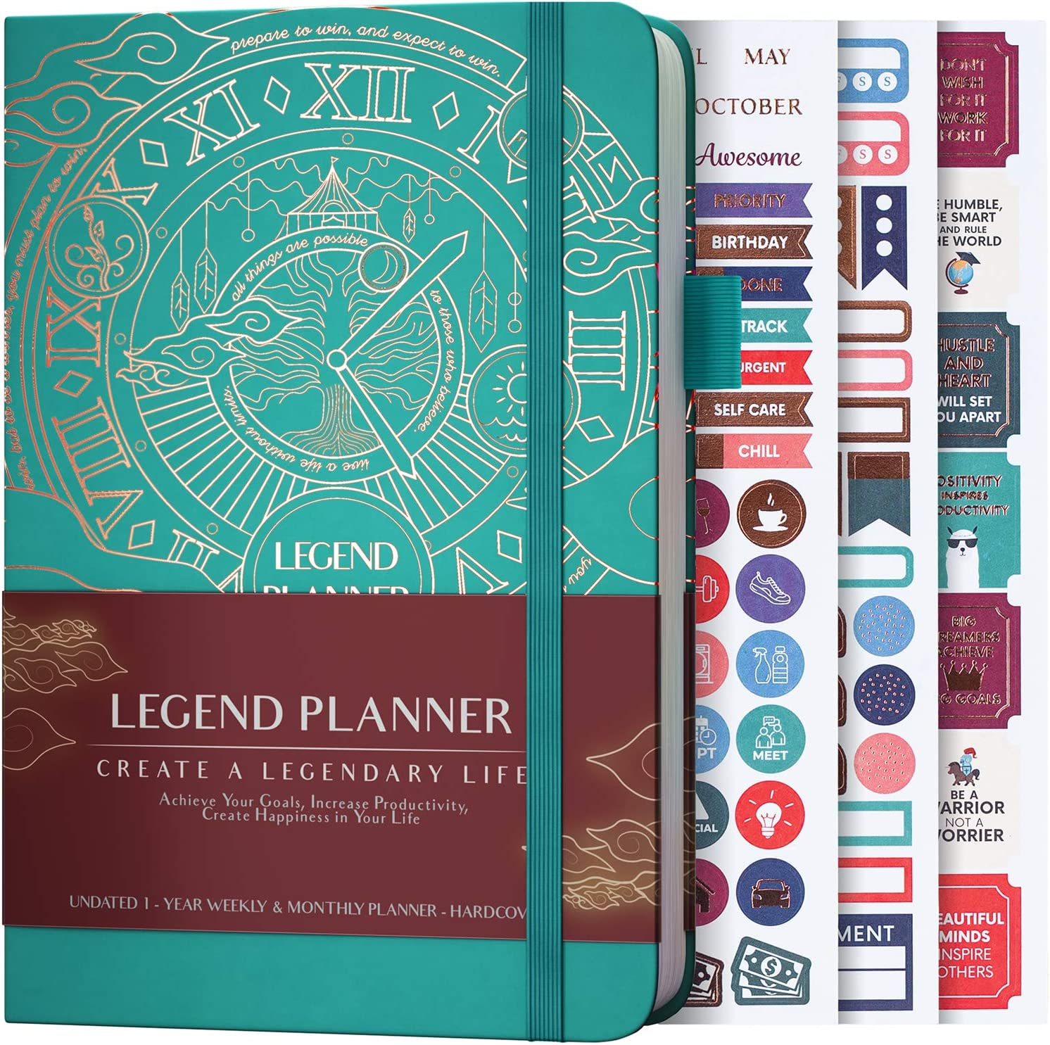 Legend Planner - Deluxe Weekly & Monthly Life Planner to Hit Your Goals & Live Happier. Organizer Notebook & Productivity Journal. A5 Hardcover, Undated - Start Any Time + Stickers-Viridian Green Gold