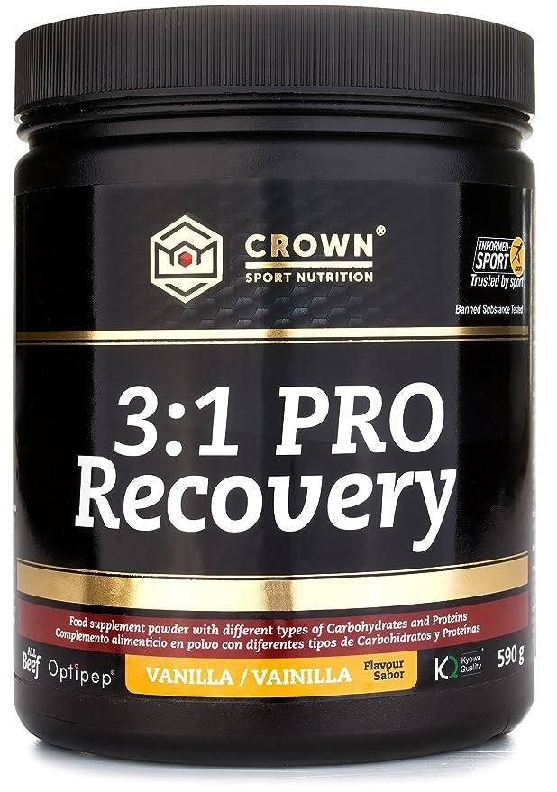 Crown Sport Nutrition Caja 3:1 PRO Recovery, Suplemento recuperador muscular para deportistas, Con estudio científico y certificación antidoping Informed ...