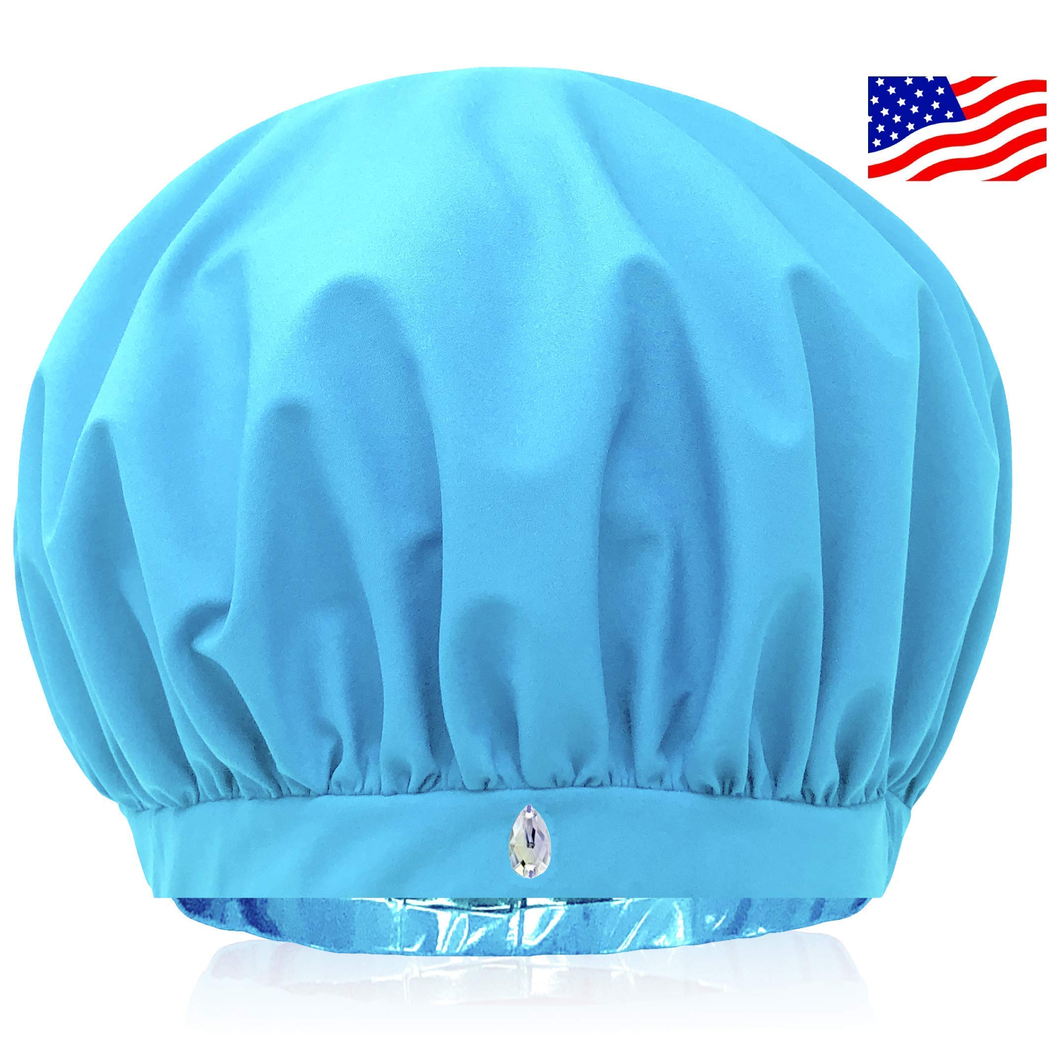 SUPERPOWER CAP The Only Shower Cap That Removes Humidity To Keep Dry Hair Styled | Waterproof Breathable Fabric | Large For Long Hair | Adjustable | No Slip Grip | Swarovski crystal | Gift Box | USA