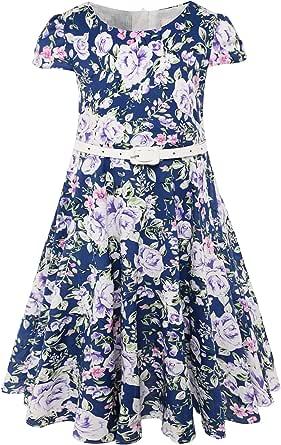 BONNY BILLY Girls Classy Vintage Floral Swing Kids Party Dress with Belt