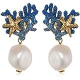 Misis-Orecchini da donna Positano, argento 925e dorato perle d' acqua dolce bianco 3,3cm-OR09006