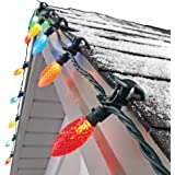 NOMA C9 LED Quick Clip Christmas Lights | Built-in Clip-OnString Lights | 24 Multi-Color Bulbs | 16Foot Strand