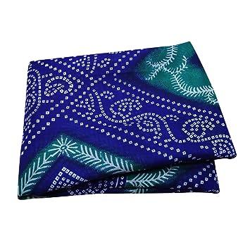 PEEGLI Indian Jahrgang Gedruckt Sari Blau Seide Mischung Nähen ...