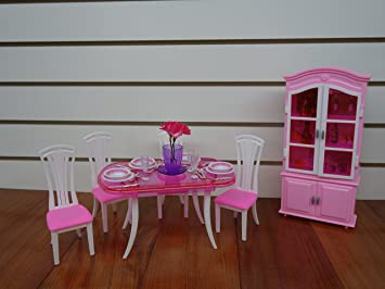 barbie size dollhouse furniture dinning room with 4 chairs cabinet amazoncom barbie size dollhouse
