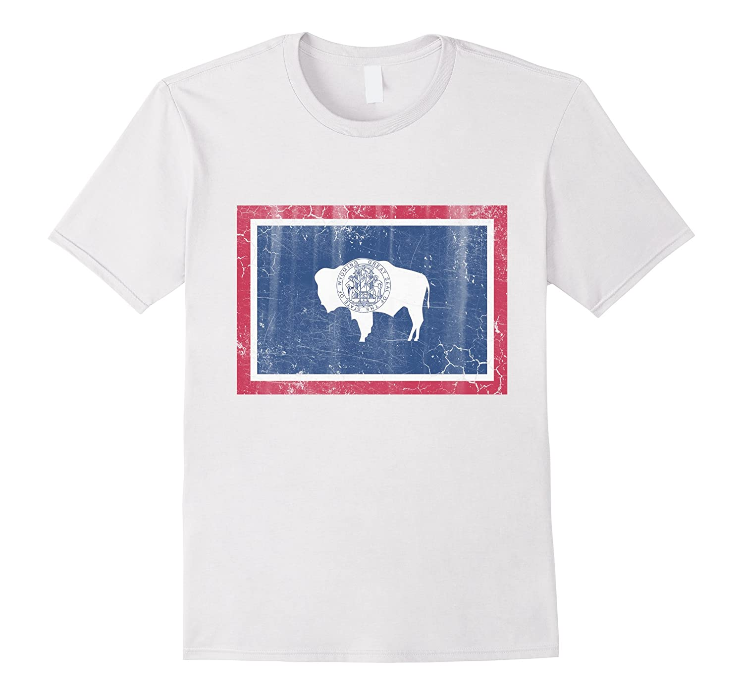 Vintage wyoming flag distressed t shirt cl colamaga for Custom t shirts distressed