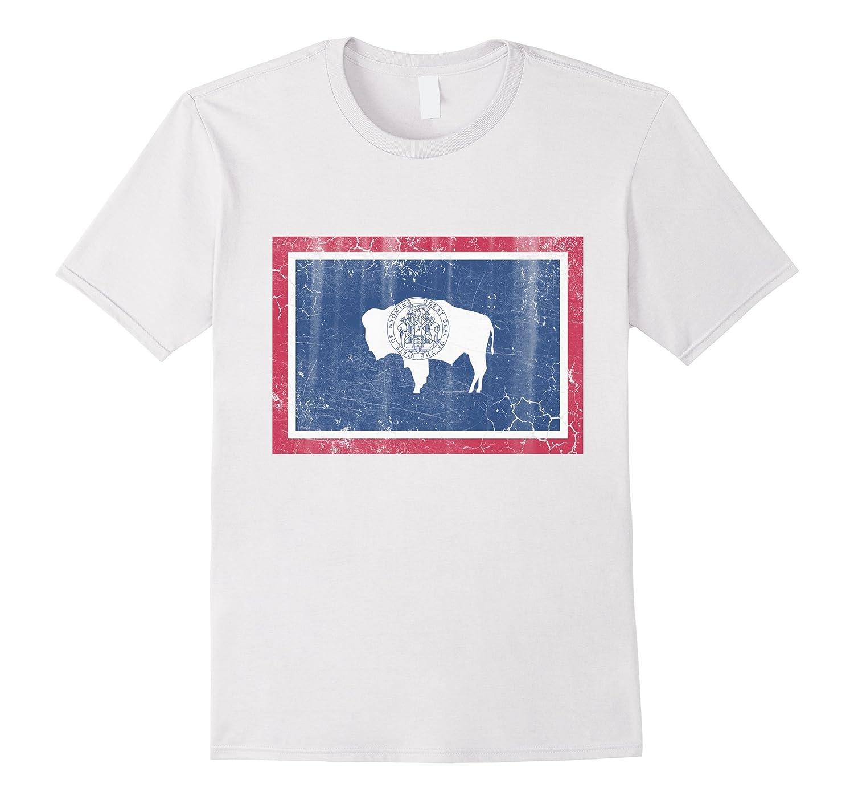Vintage Wyoming Flag Distressed T Shirt Cl Colamaga