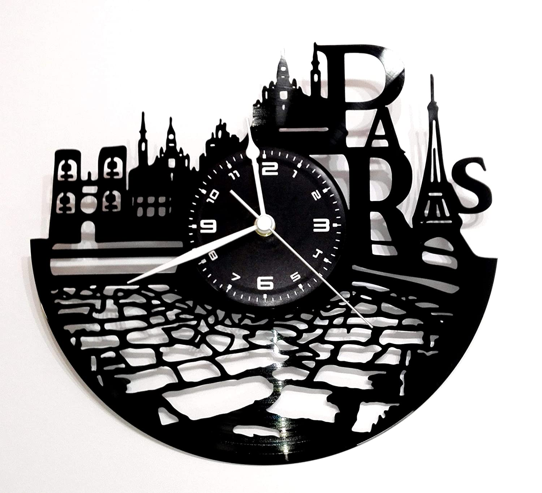 Reloj de Pared de Vinilo, diseño Vintage Hecho a Mano de Karma instantánea - City Paris Tour Eiffel: Amazon.es: Hogar