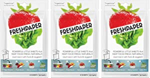 FRESHPAPER, Food Saver Sheets for Produce, Keep Fruits and Vegetables Fresh, Perfect for Food Storage, Healthy Meal Prep, BPA Free, Made in USA - 3-Pack
