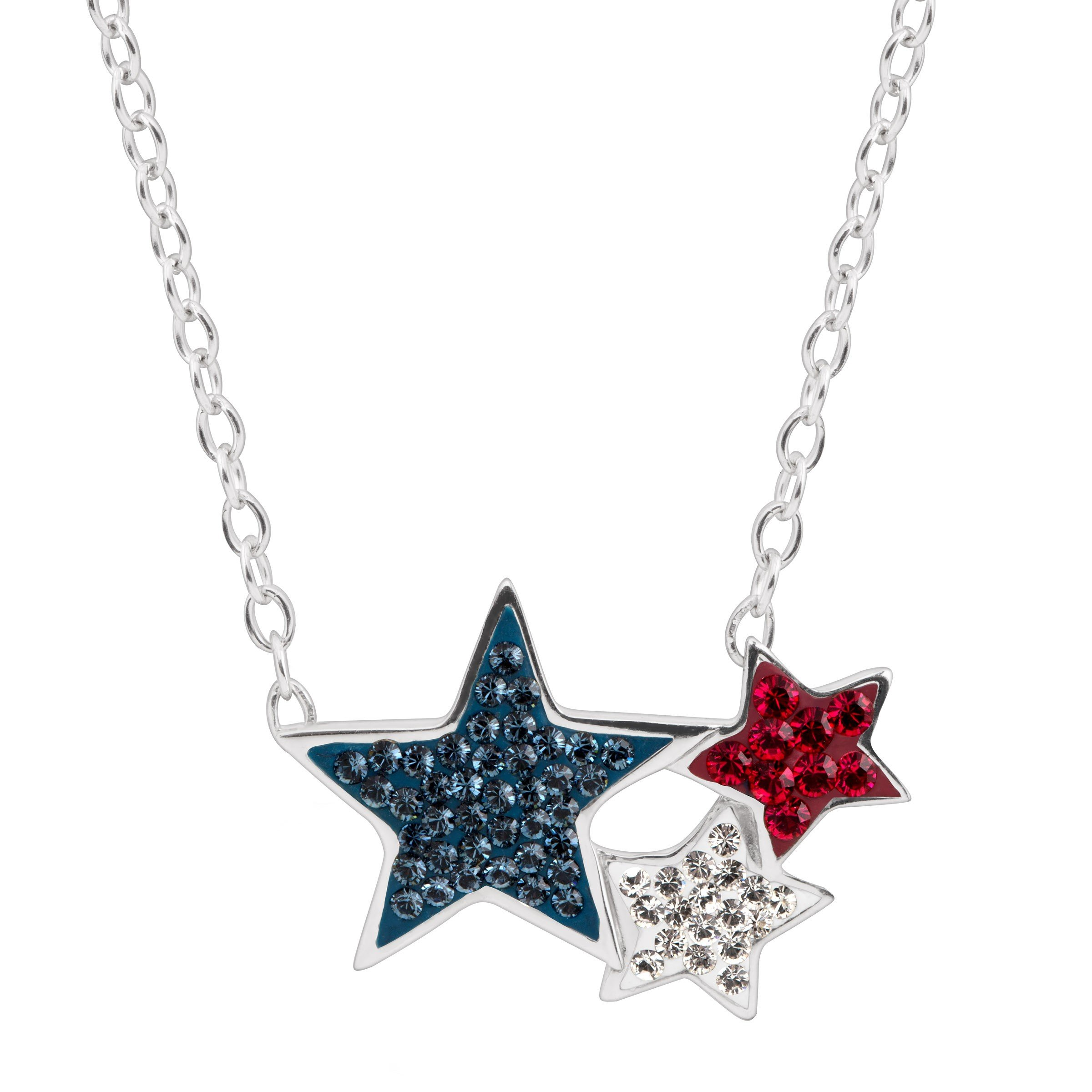 Crystaluxe Red, White, Blue Triple-Star Necklace with Swarovski Crystals in Sterling Silver