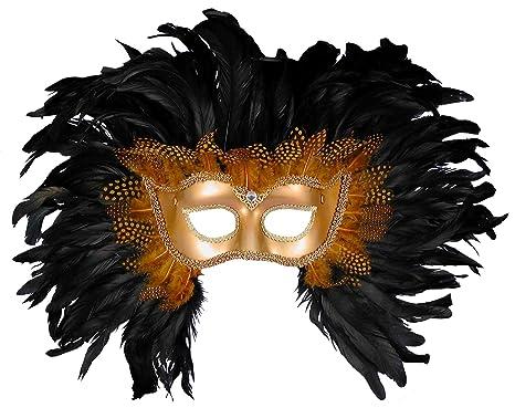 amazon com forum elaborate feather venetian mask gold black one