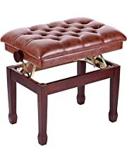 Neewer 18-20 inches/46-56 Centimeters Height Adjustable Cushion Padded Piano Bench and Keyboard Seat, Faux Leather Surface and Sturdy Wood Frame, 330 pounds/150 Kilograms Weight Capacity, Walnut