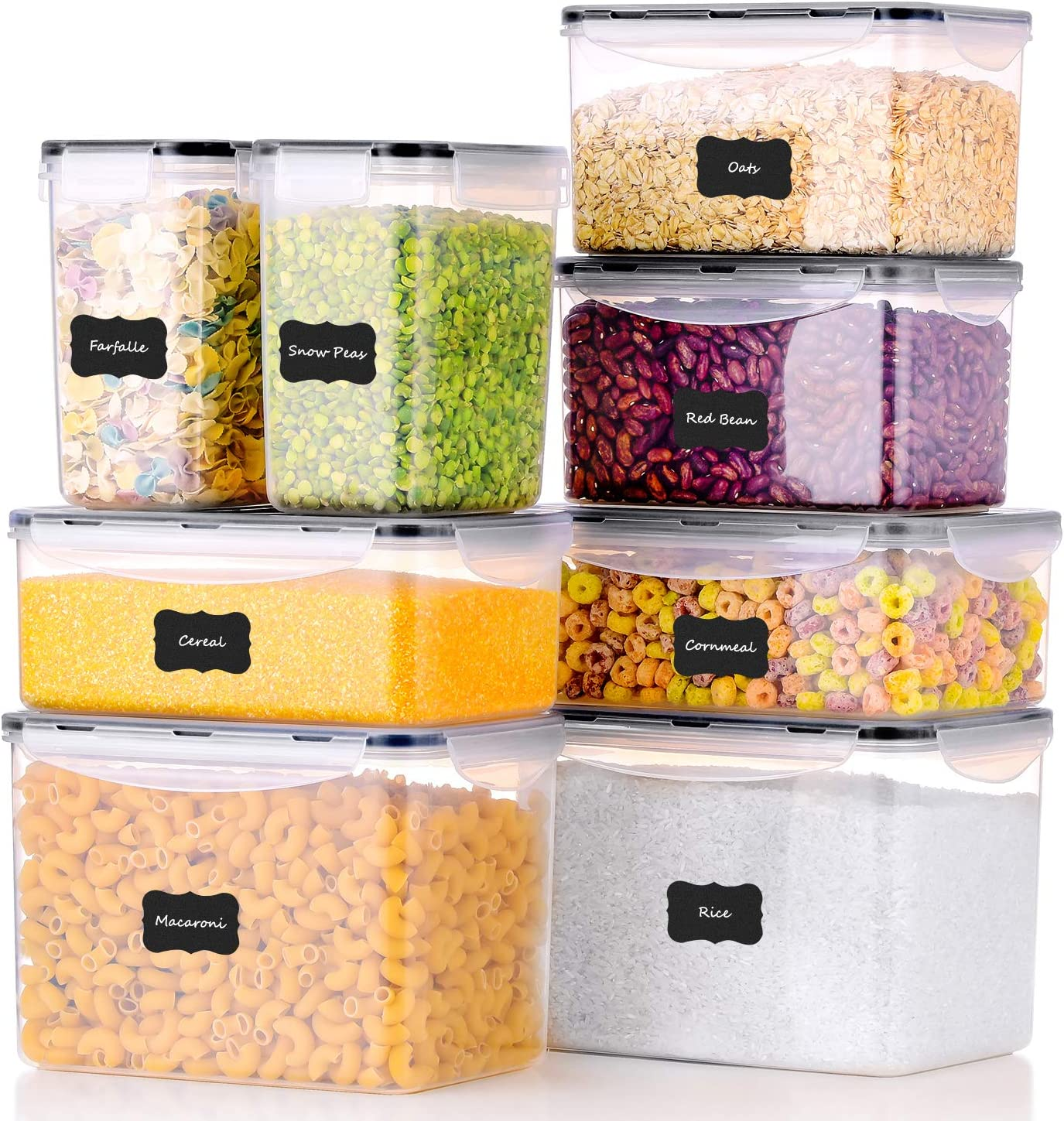 ME.FAN Food Storage Containers [Set of 8] Airtight Storage Keeper with 24 Chalkboard labels Ideal for Cereal, Sugar, Flour, Baking Supplies - BPA Free - Clear Plastic with Black Lids