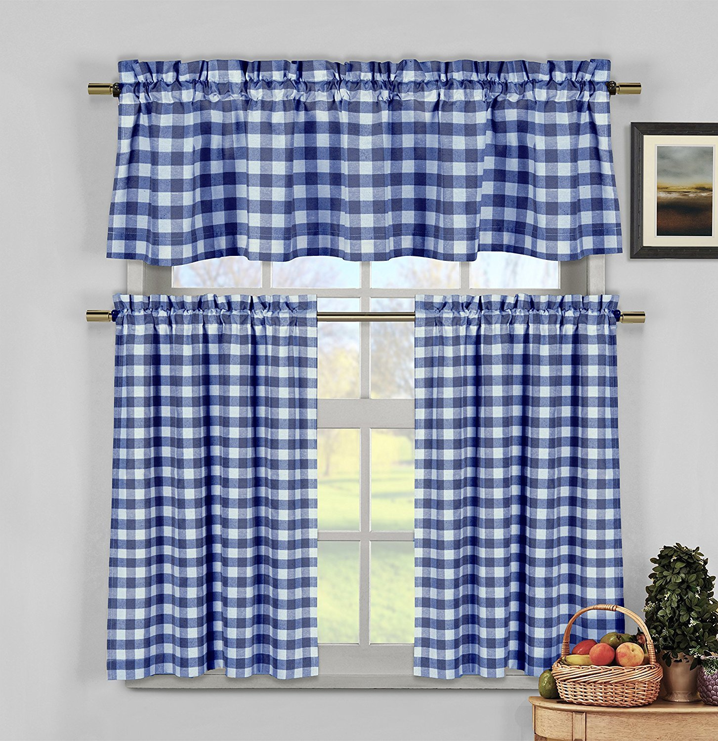 Navy Blue White Kitchen Curtains: Gingham Checkered Plaid Design COMINHKPR142781