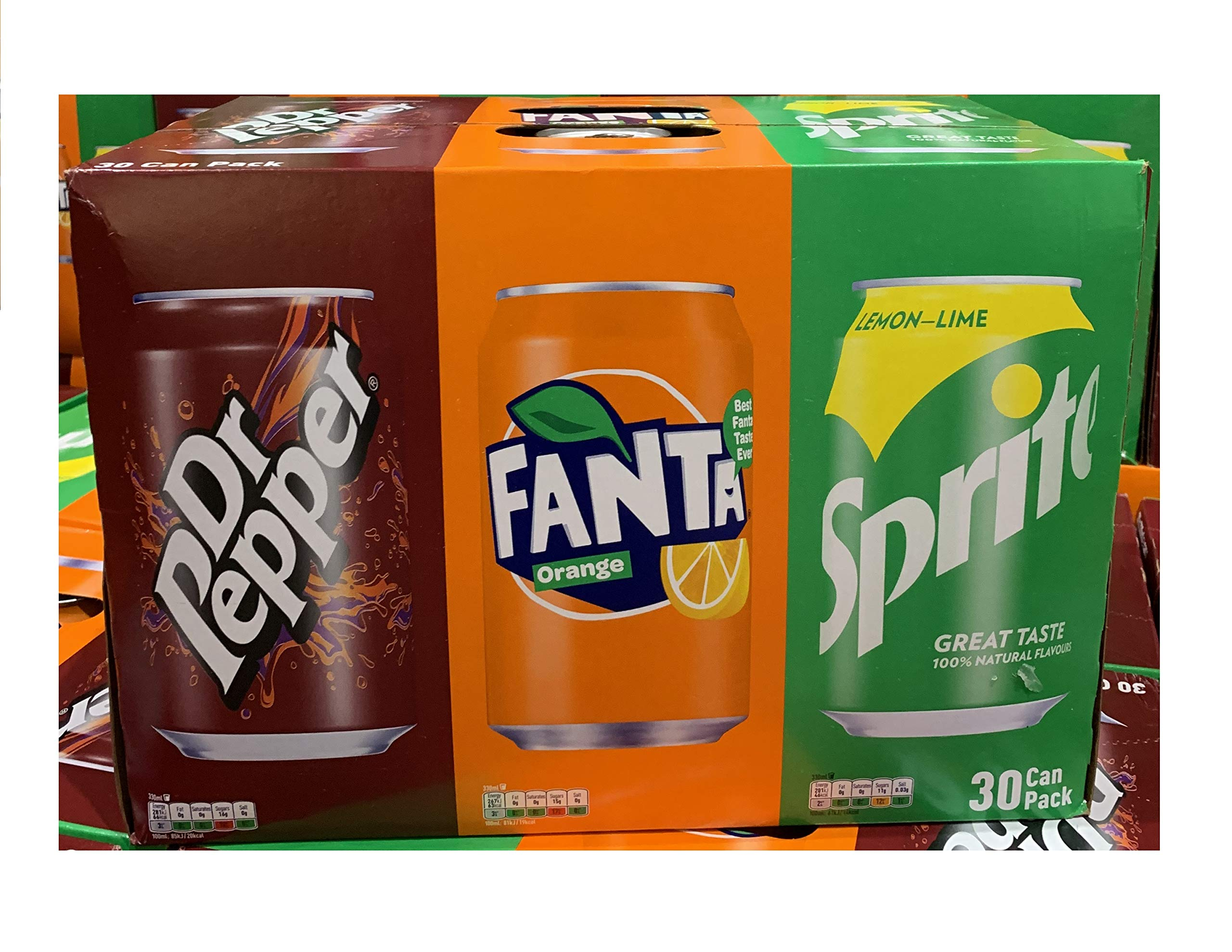 Coca Cola Dr. Pepper, Fanta, Sprite Cans, 330 ml Variety Pack of 30