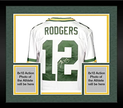 Framed Aaron Rodgers Green Bay Packers Autographed Nike White Elite ...
