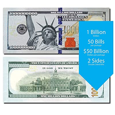Billion Dollar Fake Money Bills – Pack of 50 Fake Dollars – Real Looking Size and Color – Premium Quality Play Money Bills – for Educational and Recreate Purpose – Party Props Fun: Toys & Games