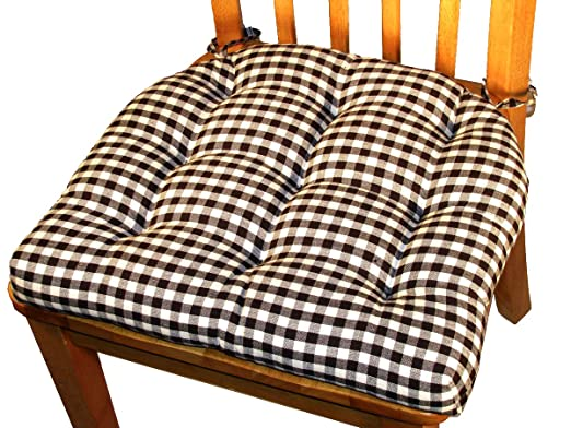 Amazon.com: Dining Chair Pad with Ties - Black & White Checkers 1/4