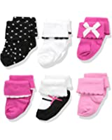 Luvable Friends Baby Girls' 6 Pair Dressy Cuff Socks