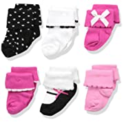 Luvable Friends Baby Basic Socks, Black/Pink 6Pk, 0-6 Months
