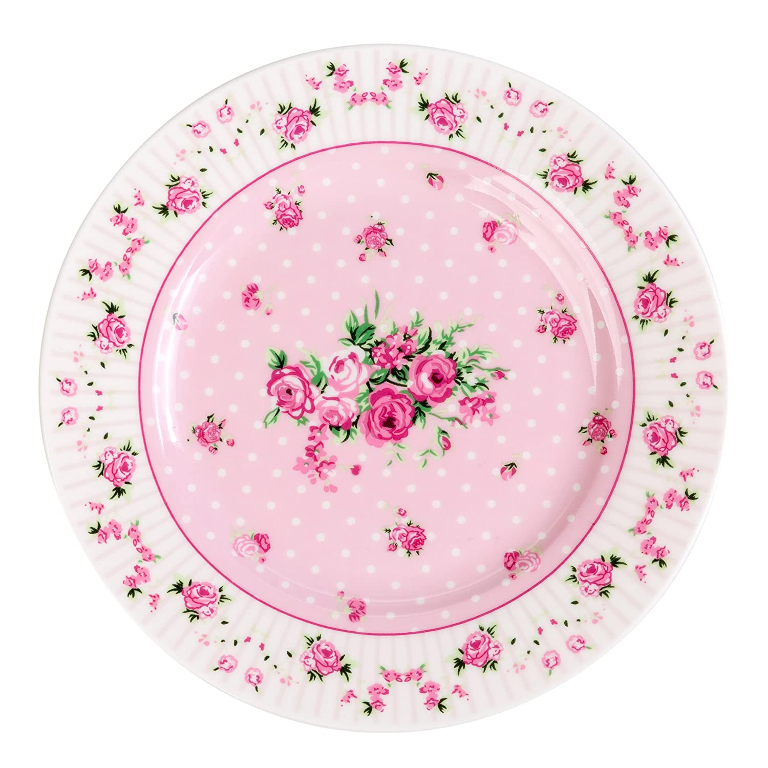 Porcelain Fine China Butterfly London Boutique Side Cake Dessert Plate Set in Retro Shabby Chic Gift Box