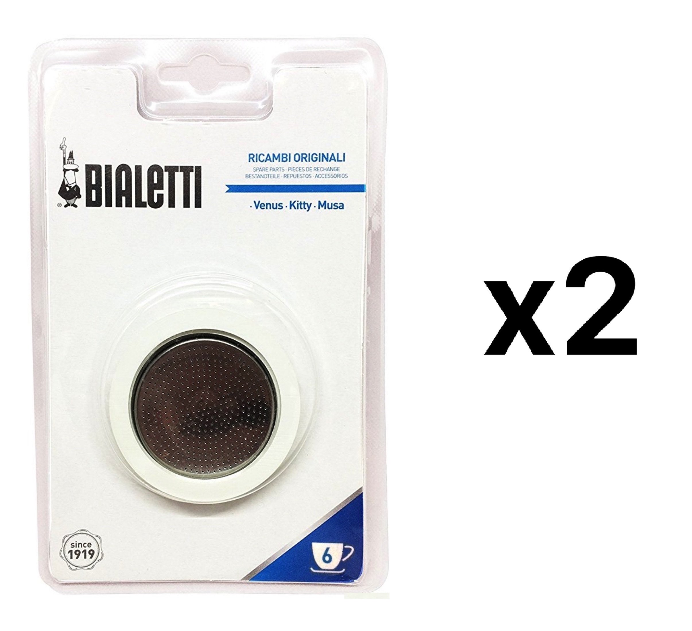 Bialetti Stainless Steel Filter Plate Replacement 6 Cup Espresso Maker (2-Pack)
