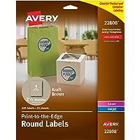 """Avery 22808 Etiquetas Redondas, para Impresora Láser e Inkjet, 225 Etiquetas, 21/2"""" de Diámetro, color Café-Kraft"""