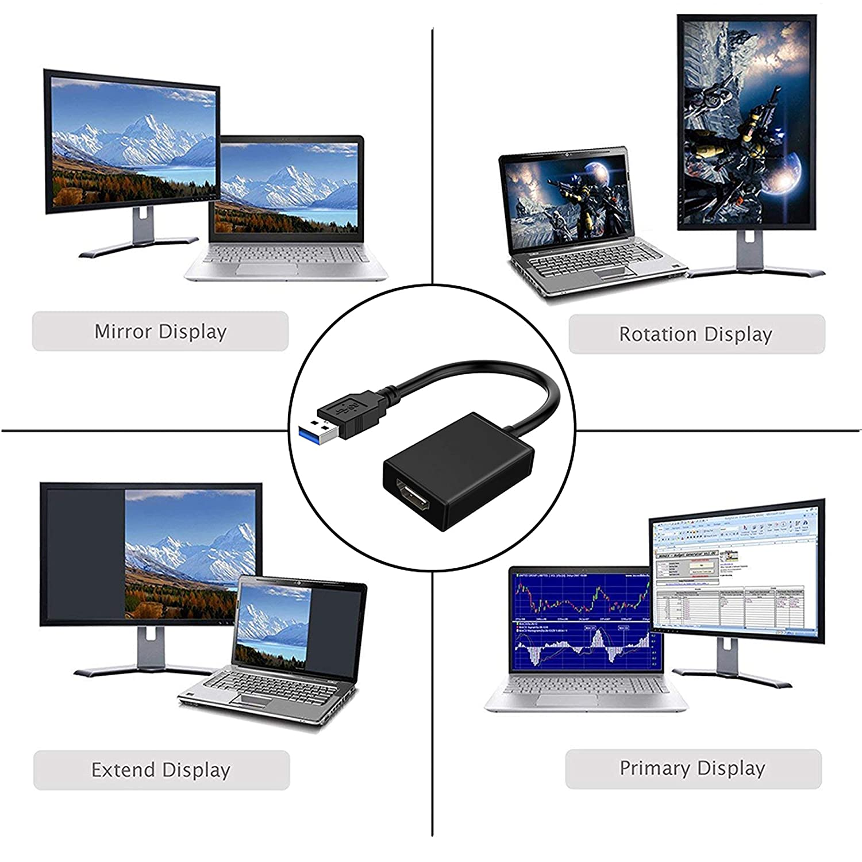 Amazon.com: Adaptador USB a HDMI, cable USB 3.0 a HDMI ...