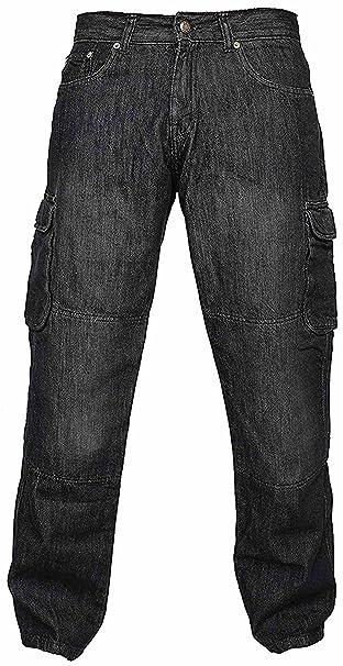 newfacelook Hombres Denim Pantalones Vaqueros Moto de Carga ...