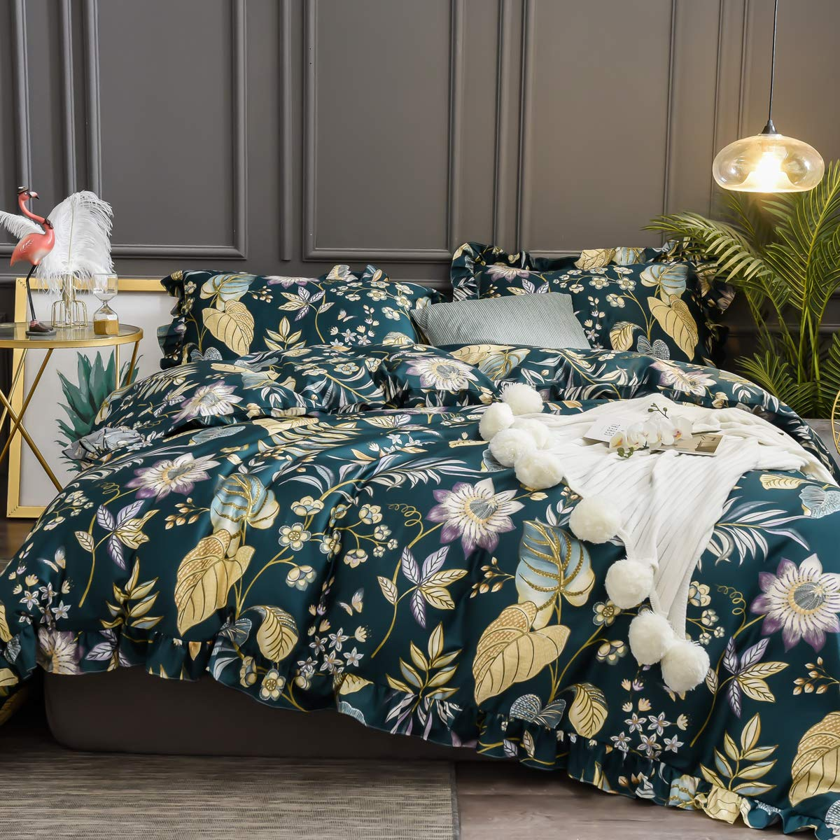 Softta Floral Duvet Cover Queen Bedding Set 3Pcs Vintage Ruffle Tropical Plam Leaves Girls Shabby Chic Duvet Covers Teal Purple Yellow Colorful 100% Egyptian Cotton 800 TC Hidden Zipper Closure