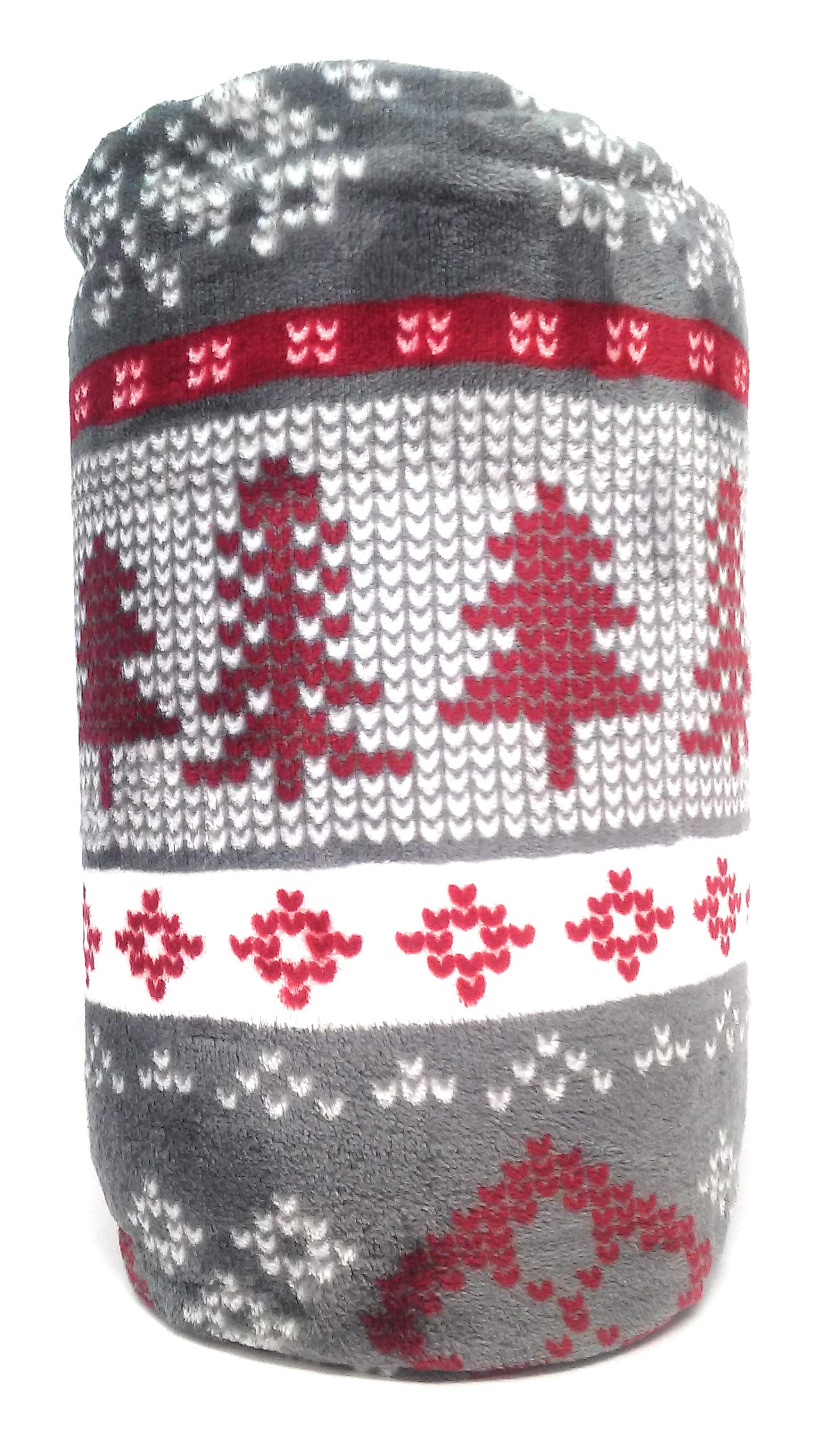 The Big One Supersoft Plush Throws, Assorted Designs (Red Fairisle with Trees) by The Big One