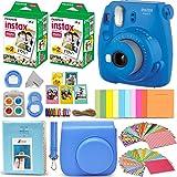 Fujifilm Instax Mini 9 Instant Camera COBALT BLUE + Fuji INSTAX Film (40 Sheets) + Accessories Kit Bundle + Custom Case with Strap + Assorted Frames + Photo Album + 60 Colorful Sticker Frames + MORE