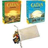 Catan Cities and Knights Expansion and Catan Seafarers Expansion Bundle | Includes Convenient Drawstring Storage Pouch