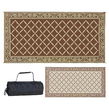 REVERSIBLE MATS Outdoor Patio/RV Camping Mat - Brown/Beige - Classical Mat (9 Feet x 18 Feet)