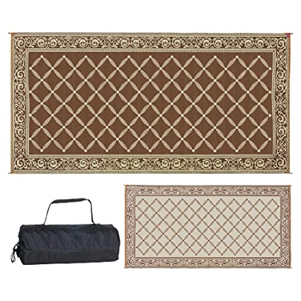 Reversible Mats 119187 Outdoor Patio 9 Feet X 18 Feet, Brown/Beige