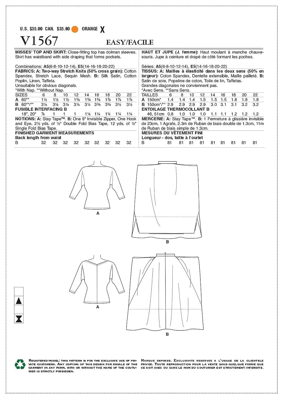 Vogue Patrones de Costura para Top y Falda, Tejido, 20 x 0,5 x 25 cm ...
