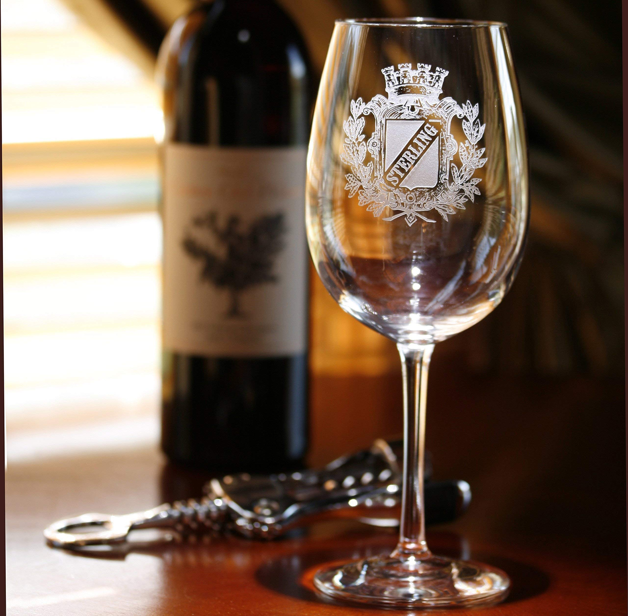 Personalized Family Crest Wine Glass, Engraved Coat of Arms Wine Glasses - Set of 4 (crest)