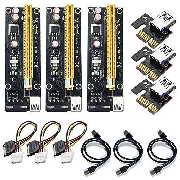 4 Pin PCI-E 1x a 16x Tarjeta Adaptador de Riser Amplificada ...