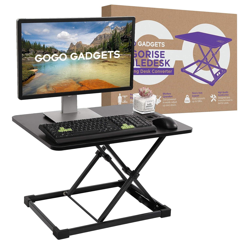 Height Adjustable Standing Desk Converter 2019 GoGoGadgets Ergorise Agiledesk Sit to Stand Desktop Desk Riser Perfect Workstation for Laptop Computer Monitors