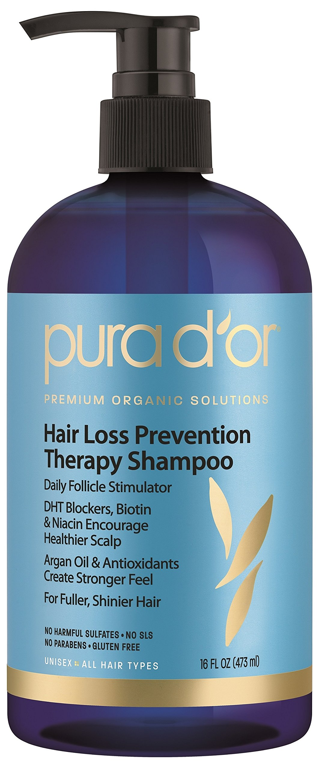 PURA D'OR Hair Thinning Therapy Shampoo for Prevention, Infused with Organic Argan Oil, Biotin & Natural Ingredients, for All Hair Types, Men and Women, 16 Fl Oz (Packaging may vary)