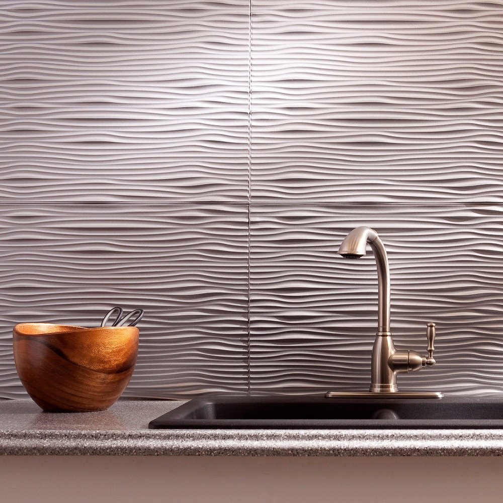 Fasade Easy Installation Waves Argent Silver Backsplash Panel for Kitchen and Bathrooms (18'' x 24'' Panel)