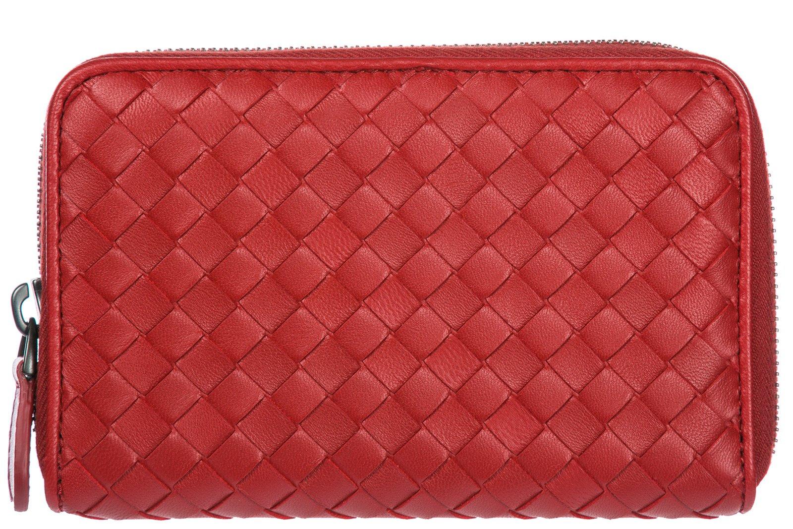 Bottega Veneta women's wallet leather coin case holder purse card bifold red