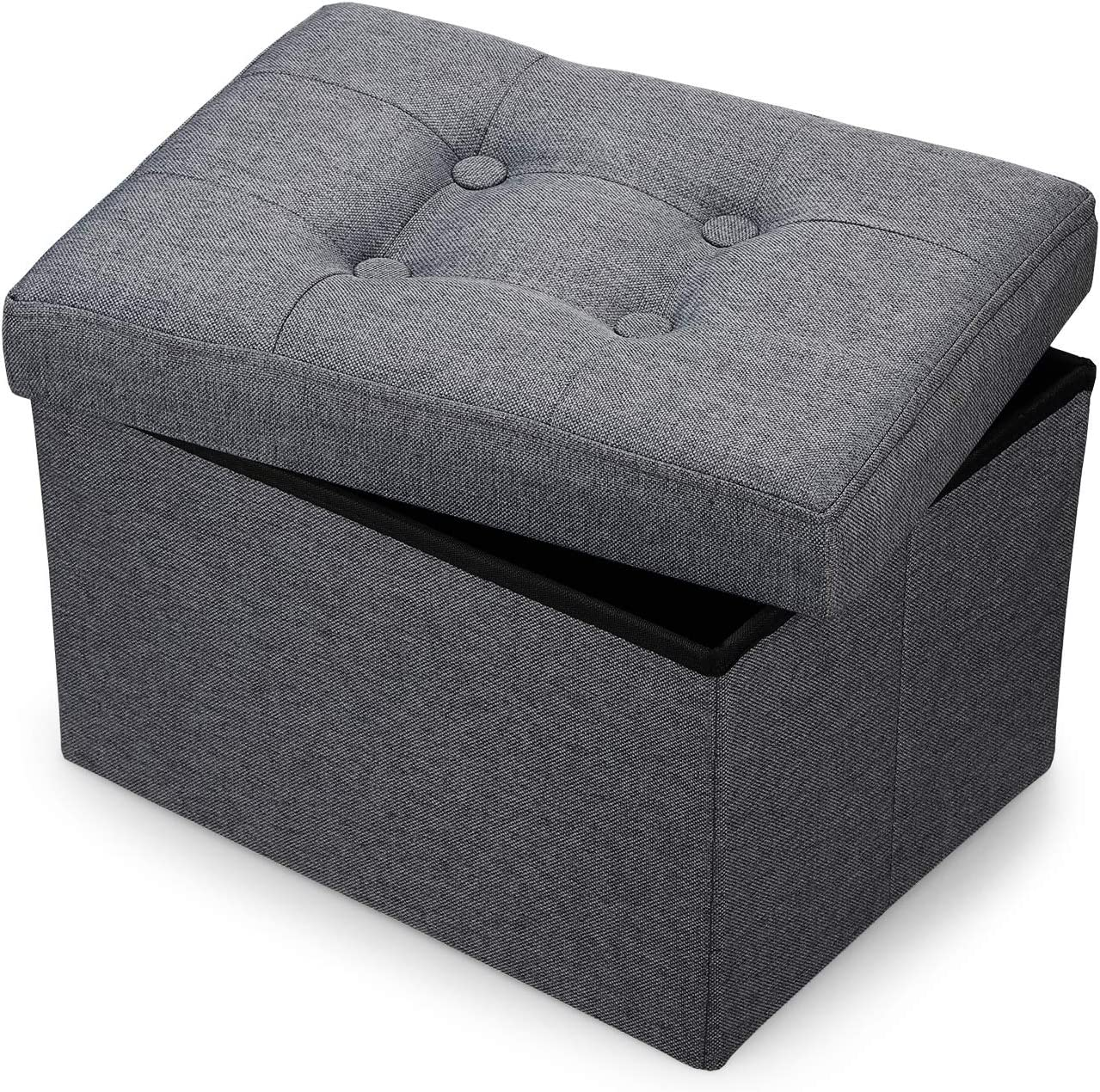 Bileeda Small and Short Foot Rest Stool Ottoman Storage Stool Sofa Seat Coffee Table Linen Fabric Grey