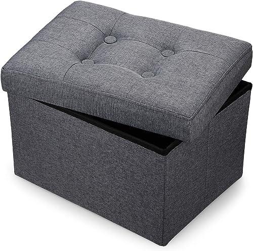 Bileeda Small and Short Foot Rest Stool Ottoman Storage Stool Sofa Seat Coffee Table Linen Fabric Grey