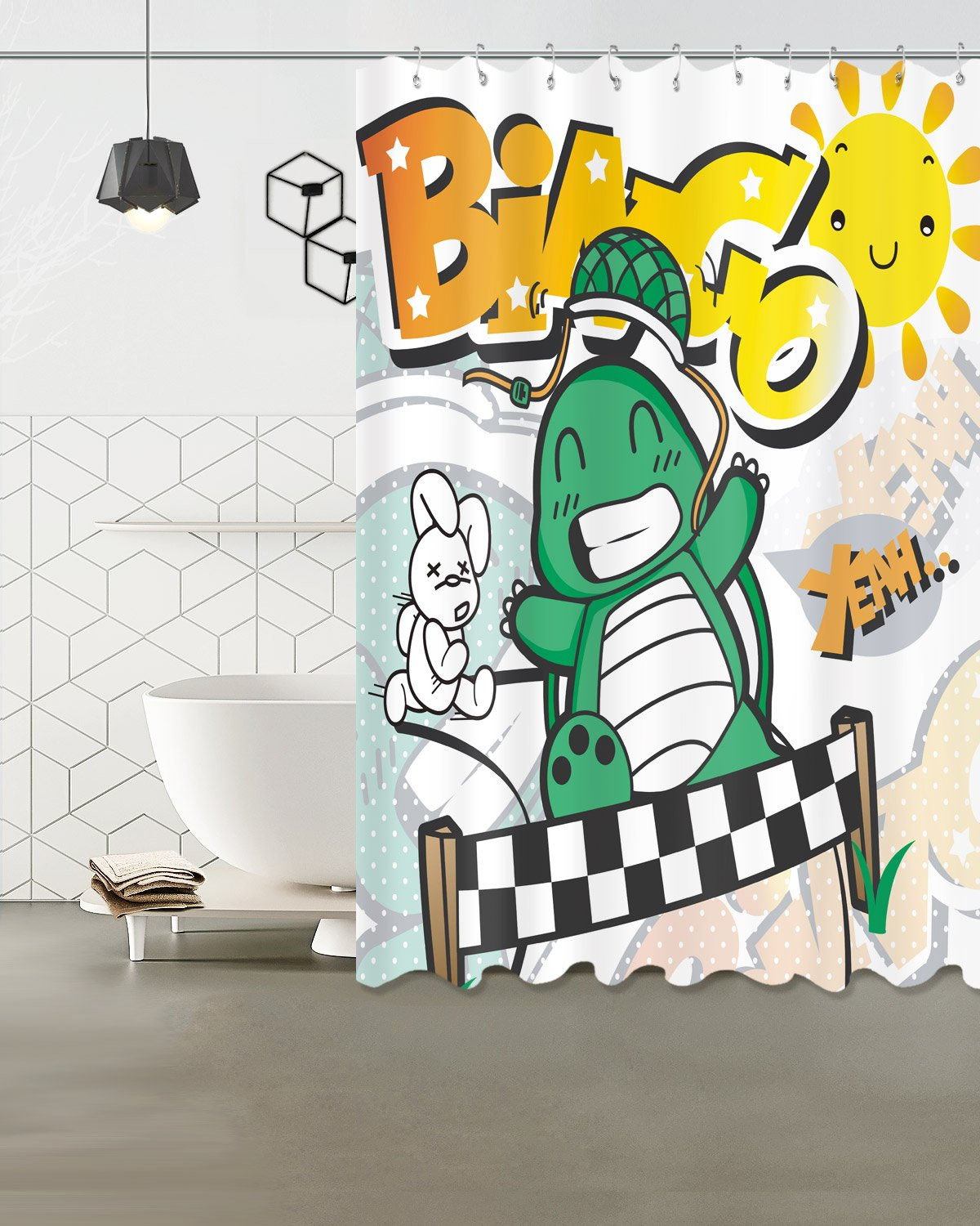 Children Shower Curtain Decor,Tortoise and Hare racing bingo game,Polyester Fabric Waterproof Bathroom Decor Shower Curtain Set with 12 Hooks,60X72 Inches by LB
