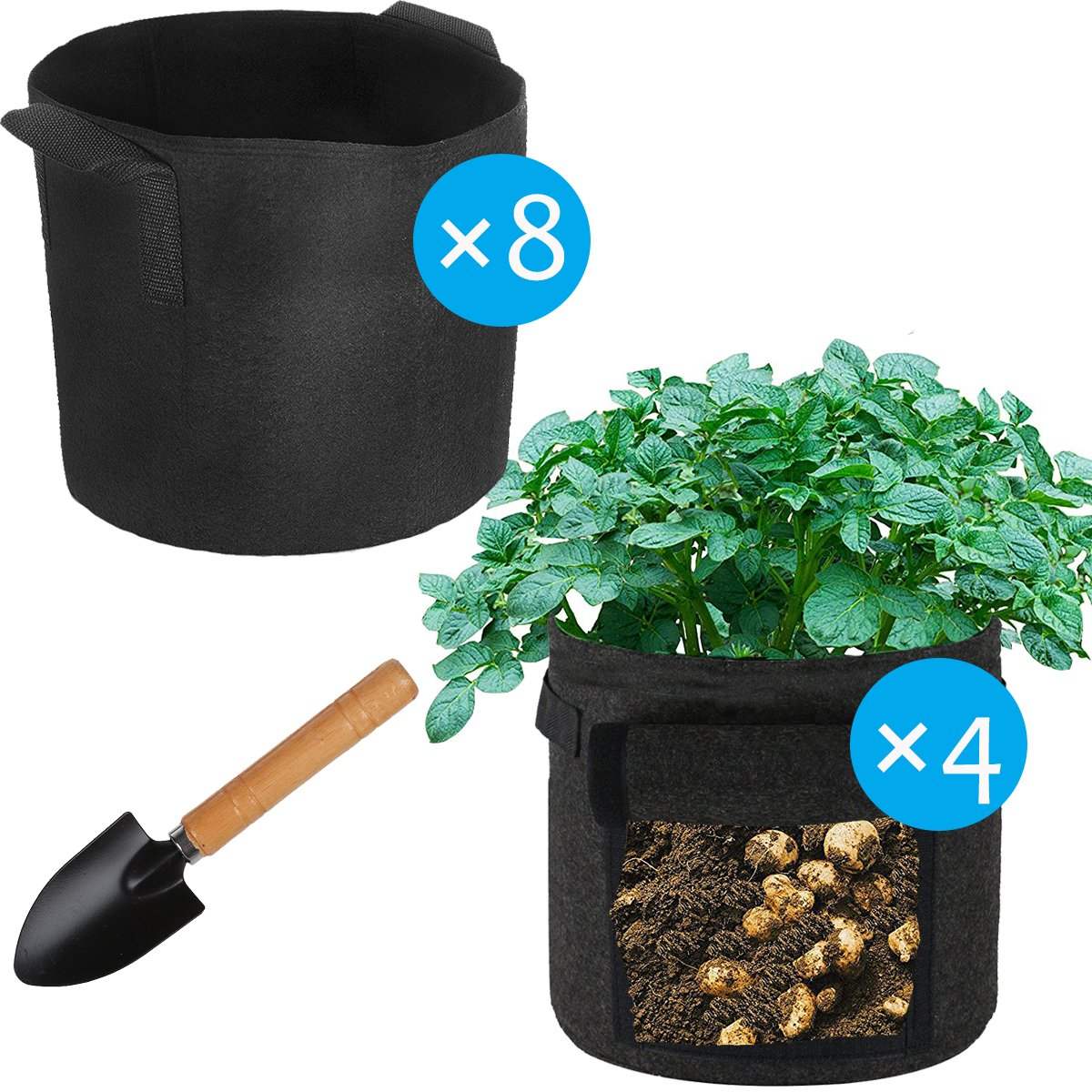 SunKoda Grow Bags 8 Pack 5 Gallon Fabric Pots 4 Pack 7 Gallon Potato Growing Bags Indoor Planter Pots for Outdoor Garden Tree, Flower, Bean, Tomato, Vegetable Planting