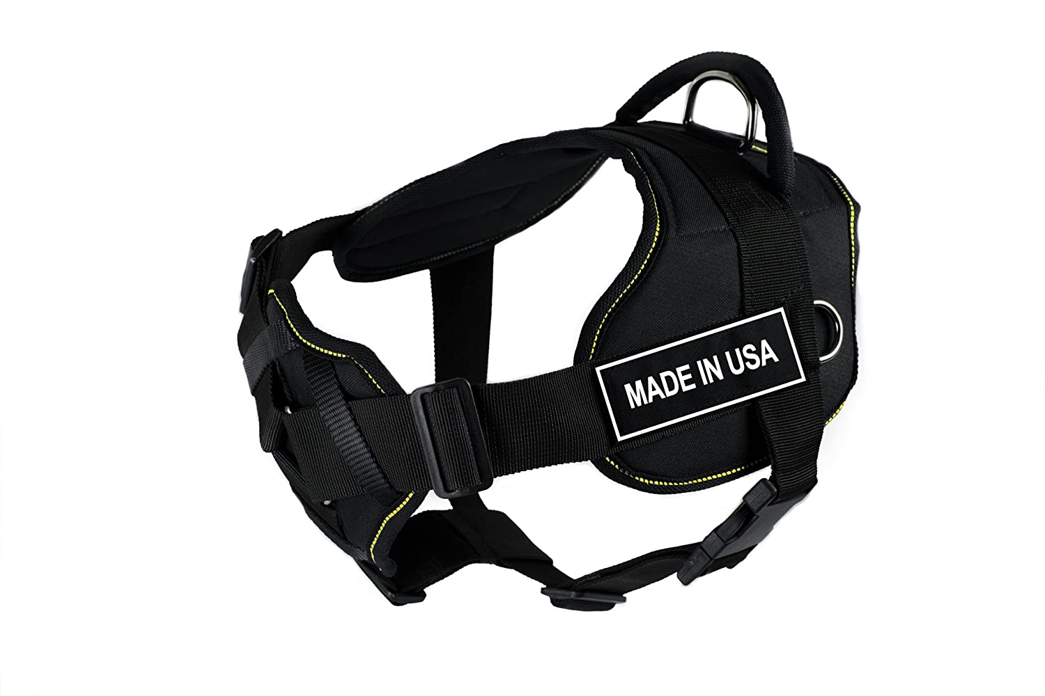 Dean & Tyler New DT FUN Dog Harness With Padded Chest Piece With 3 Straps, Yellow Trim Size  Medium (Will Fit  71cm 86cm) with  MADE IN USA  Velcro Patches, Black White