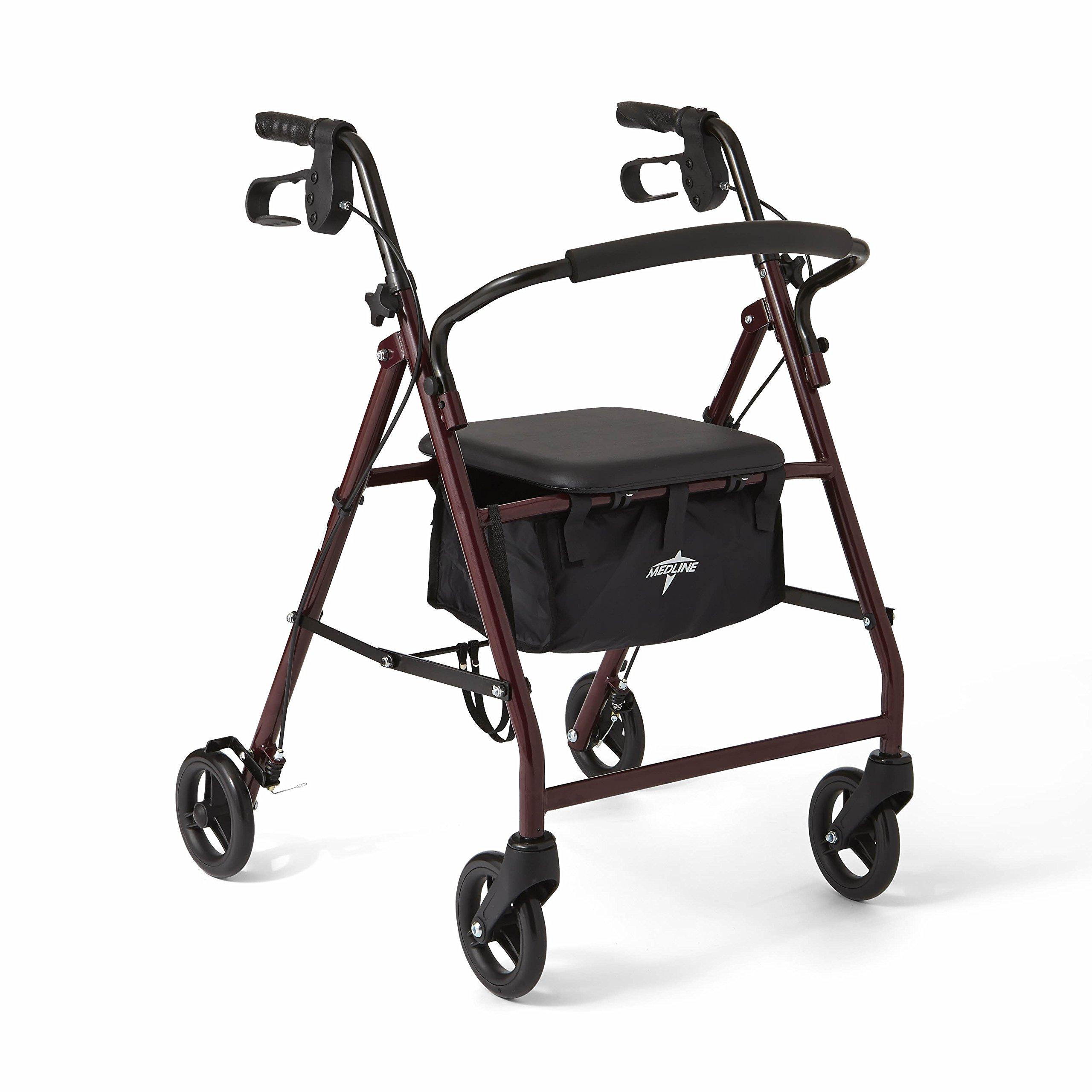 "Medline Steel Foldable Adult Rollator Mobility Walker with 6"" Wheels, Burgundy"