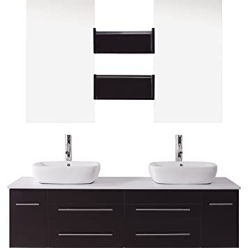 Virtu USA UM 3051 ES Augustine 60 Inch Wall Mounted Double Sink