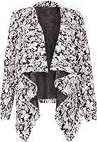 Womens Flock Flower Printed Ladies Stretch Long Sleeve Open Cardigan Jacket Top